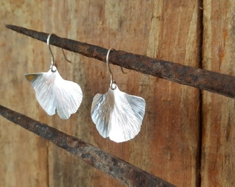Ginkgo leaf earrings, sterling silver, gingko, leaf earrings, ginkgo biloba leaf