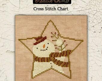 Snowmen | Primitive | Cross Stitch Chart | Downloadable PDF | EPattern | Needlework | DIY | Crafts | Star Shaped Snowman | XS149