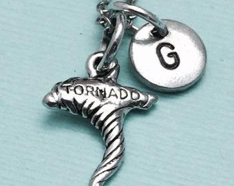 Tornado necklace, tornado charm, disater necklace, personalized necklace, initial necklace, initial charm, monogram