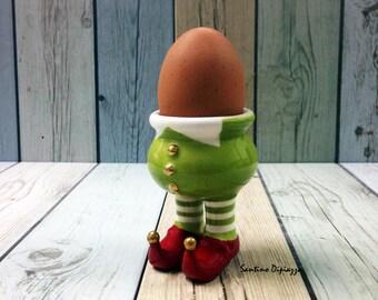 Green Elf portauovo, Whimsical Pixie Cup, Walking ceramiche, novità uovo porta, bianco ceramica, carina uovo Server, regali unici in porcellana