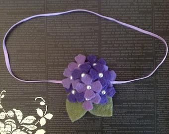 Baby Headband Purple,Lavender Wool Felt Hydrangea with pearls- Infant, Toddler, Girls Headbands-BL103