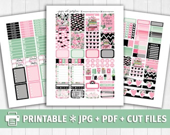 PASSION FOR FASHION Printable Planner Stickers/for use with Erin Condren/Weekly Kit/Cutfiles/Spring Floral Pink Green Peonies Books