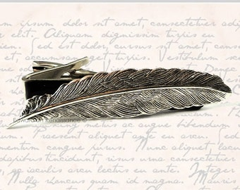 Ravens Feather Tie Clip Inlaid in Hand Painted Enamel Neo Victorian Neck Tie Bar Accent Custom Colors Available
