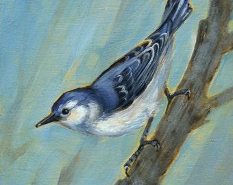 Nuthatch, bird art, Nuthatch Art, Oil Painting, Bird Watcher Gift, Original Oil Painting, Bird Wall Decor, Nuthatch Art, Blue Bird