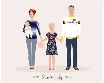 Custom Family Portrait, personalized portrait