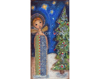 Let it Snow Angel --  Print from  Painting by FLOR LARIOS (5 x 10 INCHES)