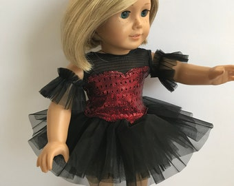 """Black and Red 4 Piece Ballet Costume - Sized For An 18"""" American Girl Sized Doll"""