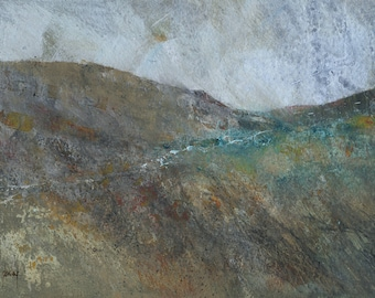 Original abstract landscape painting - Dyffryn Claerwen