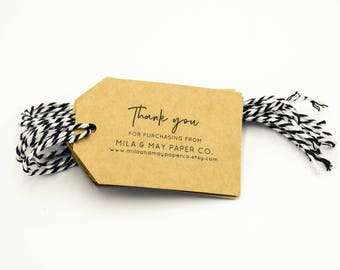 Product Tags Customised - Rustic Kraft Card & Twine 25 / 50 / 100 / 150 / 200 / 250 packs