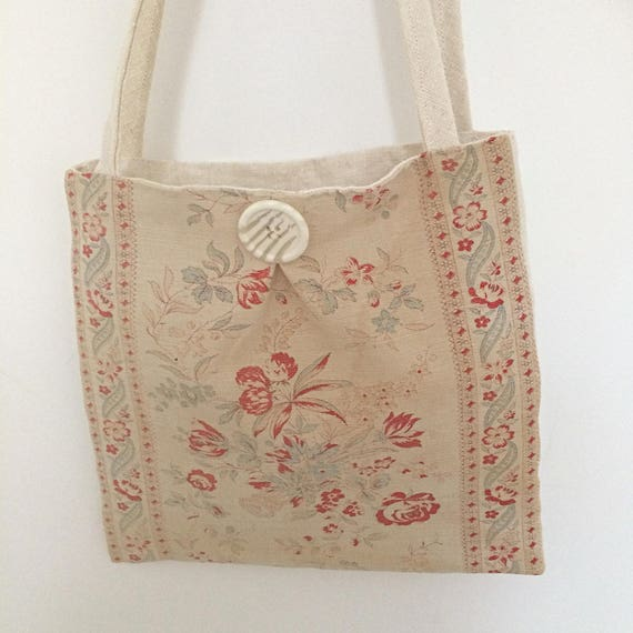 Vintage linen tote bag in faded roses, ribbons textile