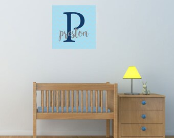 Chevron Name & Initial - Printed Monogram - Wall Decals