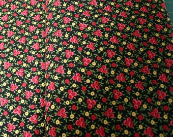 Holly Holderman - Posey Patch  rich black with rose Red and Yellow Posies quilt fabric by the yard