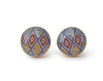 Tiny Colorful Geometric Stud Earrings Valentines Gift for her