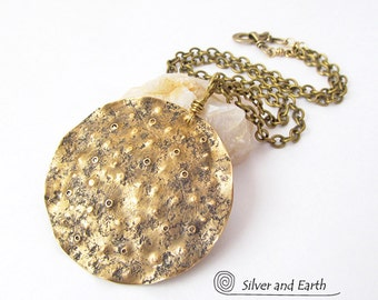 Hammered Brass Necklace, Gold Moon Necklace, Lunar Jewelry, Rustic Edgy Modern Jewelry, Artisan Handmade Metal Jewelry, Full Moon Necklace