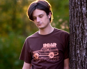 ROAD TRIPPING Hand-Screen Printed 100% Cotton T-Shirt in Chocolate Brown