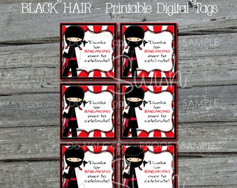 Ninja Favor Tag | Girly Gift Tag | Red Black | Black hair | Printable 3x3 Label | Instant Download | Ninja Party | Gymnastics Parkour