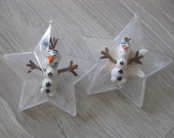 Plastic star with Olaf made Fimo to choice (still the left)