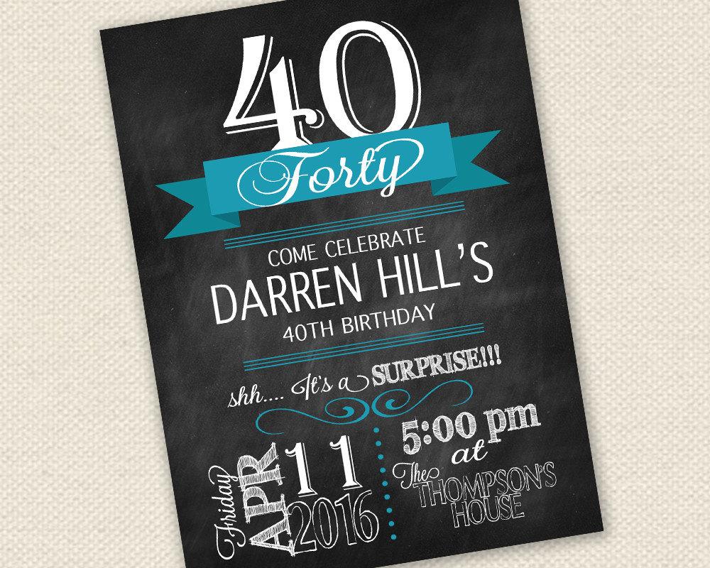 40th Birthday Invitation Surprise Birthday Invitation