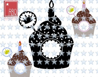 Cupcake Cup Birthday Party Fun Cake Candle Sprinkle Crown Tag Sweet treat Celebrate Eating SVG dxf EPS Jpeg PNG pdf Vector commercial use