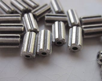 48 Faceted Tube Beads, Antiqued Silver, 7mm x 4mm with Striped/Scored Sides