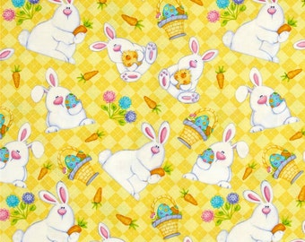Fat Quarter The Sweetest Springtime Easter Bunny on an Argyle Yellow Background Fabric