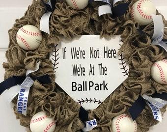 Texas Rangers Wreath, Burlap Wreath, Baseball Wreath, Sports Wreath