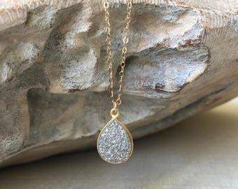 Gold Raw Silver Druzy Necklace