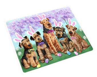 Airedale Terriers Dog Easter Holiday Large Refrigerator / Dishwasher Magnet