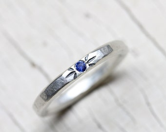 Blue Sapphire Wedding Band Delicate Silver Oxidized Engraving September Birthstone Minimalistic Delicate Bridal Ring Cornflower - Kornblume