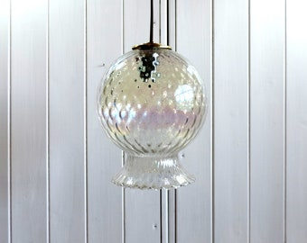 Vintage French iridescent, opalescent, glass pendant light