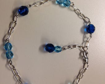 Aqua and Navy Blue Ankle Bracelet
