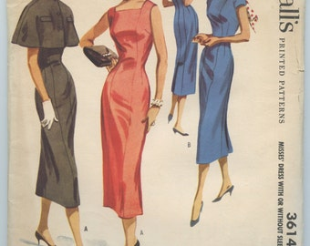1950's McCall's 3614 Misses' Princess Seamed Sheath Dress with Square or High Round Neckline and Cape Vintage Sewing Pattern Bust 38