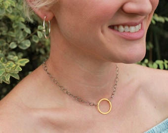 Gold Circle Pendant Necklace, Dainty Necklace, Adjustable Choker Necklace. Sterling Silver Necklace Chain with Gold Pendant by Toozy.