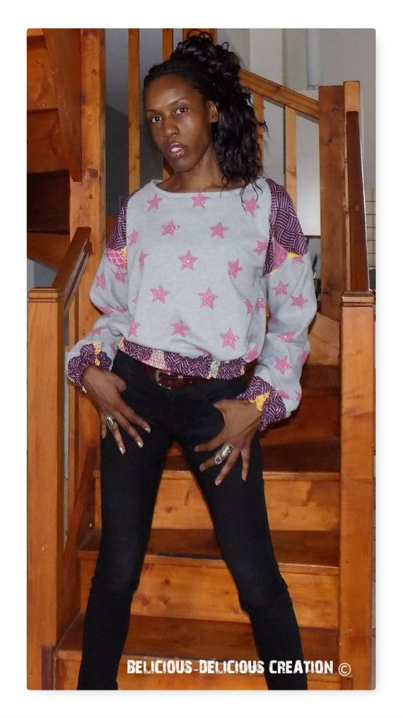 Original Sweat Top! WAXSTAR! Gray pink cotton printed stars and size African fabric. 40 belicious-delicious-creation