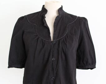 Black 1940s Style Puff Sleeve Bolero Jacket Top