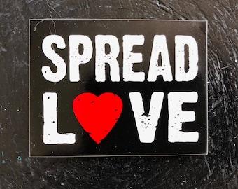 SPREAD LOVE vinyl sticker heart black white red