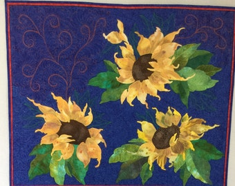 Sunflower Wallhanging, Quilted Wall Art, Appliqué Sunflowers, Fiber Wall Art,
