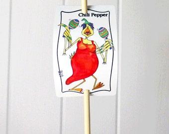 Vegetable Marker Chili Pepper Spicy Aluminum Garden Sign Chicken Illustration