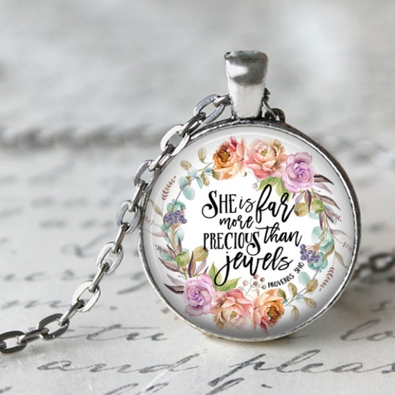 BIBLE Verse Pendant with silver chain - 24 inches - SHE is far more Precious  than jewels Proverbs 31
