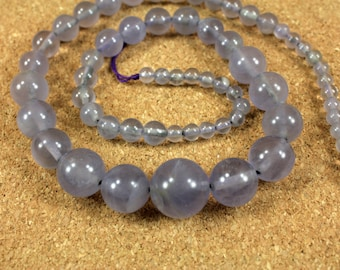 Flourite Round Beads - Purple Graduated Smooth Transparent Beads, 15 inch strand