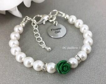 Forest Green Flower Bracelet Flower Girl Bracelet Pearl and Flower Bracelet Swarovski Bracelet Flower Girl Gift Green Bracelet