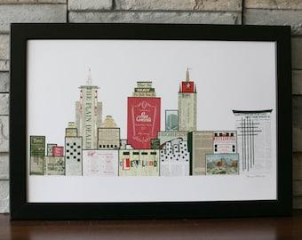 Cleveland Skyline Print Red