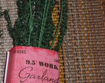 Short needled Pine work garlands for use with deco mesh or burlap,9.5 ft,wired,primitive,rustic,burlap,deco mesh wreath making