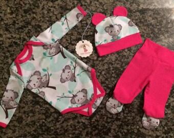 infant gift set - koala set - baby koala set - 0-3 month - 3-6 month  - baby set - koalas- cute baby - koalas- exclusive koala fabric