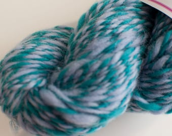 Welsh Ewe/Merino Handspun Yarn in Shades of Pale Blue and Green 95g/182yds