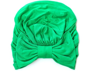 Turban with Bow - Kelly Green Hair Wrap in Jersey Knit - Women's Fashion Head Covering - Lots of Colors