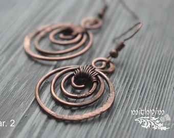 Round Copper Earrings, Copper Anniversary Gift, Copper Jewelry, 7th Anniversary Gift, Spiral earrings, Ethnic wire wrap earrings, boho