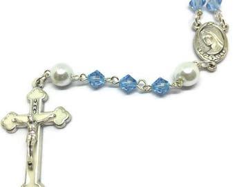 Aqua Rosary, March Birthstone Rosary,  Crucifix Cross Pendant, Silver Rosary, Cross Necklace
