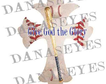 Baseball Christian Cross Digitial download craft supply