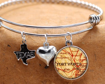 Map Charm Bracelet Fort Worth Texas State Of TX Bangle Cuff Bracelet Vintage Map Jewelry Stainless Steel Bracelet Gifts For Her